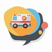 pic of ambulance  - Transportation Ambulance Flat Icon With Long Shadow - JPG