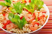 picture of celery  - Italian salad made of fusilli shrimp celery decorated with celery leaves - JPG