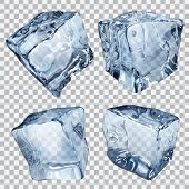 stock photo of ice-cubes  - Set of four transparent ice cubes in blue colors - JPG