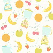 stock photo of fruit shake  - Blender and fruits pattern - JPG