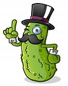 foto of top-hat  - A proper english gentleman pickle with a handlebar mustache - JPG