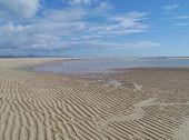 image of atlantic ocean beach  - Patterns at low water in the sand of the beach near Costa Calma on Fuerteventura - JPG