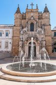 picture of fountains  - Fountain in front of the main facade of Santa Cruz Monastery - JPG