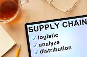 image of chains  - Tablet with words  supply chain management - JPG
