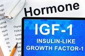 image of hormone  - Papers with hormones list and tablet  with words  Insulin - JPG