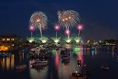 foto of 50th  - Fireworks explode over the Saginaw River during the 50th anniversary celebration on July fourth in Bay City Michigan 2012 - JPG
