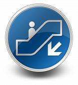 picture of escalator  - Icon Button Pictogram with Escalator Down symbol - JPG