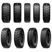 stock photo of truck farm  - Truck and tractor tires with different protector - JPG