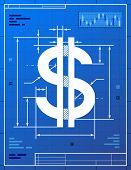 stock photo of money  - Stylized drafting of money symbol on blueprint paper - JPG