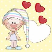 picture of gnome  - Gnome and hearts on the yellow background - JPG