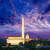 image of abraham  - Washington DC skyline with Monument Capitol and Abraham Lincoln memorial sunrise - JPG