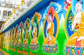 image of masterpiece  - Masterpiece of traditional painting art about Buddha story on the monastery wall - JPG