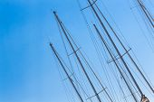 pic of sails  - Sailing Must and Blue Sky Particular of sailing must in a touristic harbor - JPG