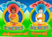 stock photo of masterpiece  - Masterpiece of traditional painting art about Buddha story on the salugara monastery wall - JPG