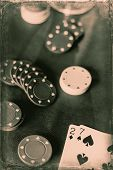 stock photo of poker hand  - Losing poker hand for this gambling addicts card game - JPG
