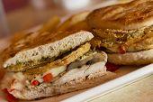 foto of portobello mushroom  - Grilled chicken and portobello mushroom panini with crispy onion rings and a side of golden fries - JPG