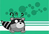 picture of raccoon  - little raccoon cartoon background in vector format very easy to edit - JPG