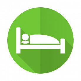 stock photo of flat-bed  - hotel green flat icon bed sign