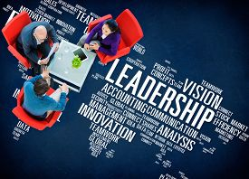 stock photo of leadership  - Leadership Boss Management Coach Chief Global Concept - JPG
