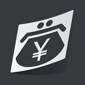 pic of yen  - White sticker with black image of purse with yen symbol - JPG