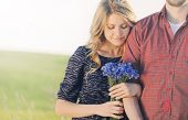 image of priceless  - stunning sensual young couple in love posing in summer field happy lifestyle concept - JPG
