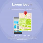 picture of gps  - Mobile Cell Phone World Map Gps Globe Navigation Vector Illustration - JPG