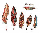Постер, плакат: Hand Drawn Boho Feathers Vector Collection Set Of Doodle Ethnic Color Feathers Cute Zentangle Feat