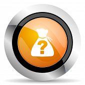 stock photo of riddles  - riddle orange icon  - JPG