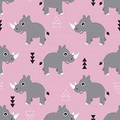 stock photo of rhino  - Seamless pink kids geometric triangle and rhino animals illustration background pattern in vector - JPG