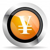 stock photo of yen  - yen orange icon  - JPG