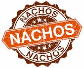 pic of nachos  - nachos orange round grunge stamp on white - JPG