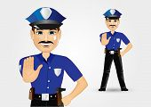 stock photo of policeman  - illustration of confident policeman with mustache showing stop gesture - JPG