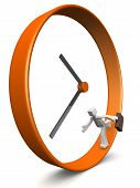 image of running-late  - Businessman carrying briefcase run around a clock 3d illustration - JPG