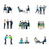 picture of mental_health  - Mental health maintaining methods of group therapy and psychoanalytic appointment flat icons set abstract isolated vector illustration - JPG