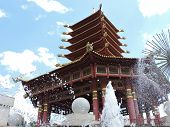 stock photo of buddhist  - Buddhist pagoda in the  Elista - the capital of Kalmykia ** Note: Visible grain at 100%, best at smaller sizes - JPG