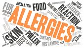 pic of allergy  - Allergies word cloud on a white background - JPG