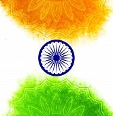stock photo of indian independence day  - Creative Indian Independence Day concept with ashoka wheel and decorative floral pattern in national flag tricolors - JPG