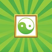 stock photo of ying yang  - Image of ying yang symbol in golden frame - JPG