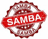 picture of samba  - samba red round grunge stamp on white - JPG
