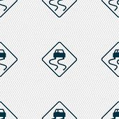 pic of slippery-roads  - Road slippery icon sign - JPG