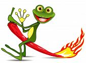 image of amphibious  - Illustration merry green Frog on hot pepper - JPG