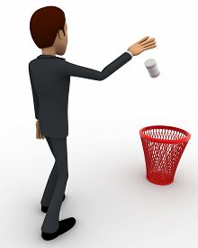 image of dustbin  - 3d man throwing paper in dustbin concept on white background left side angle view - JPG