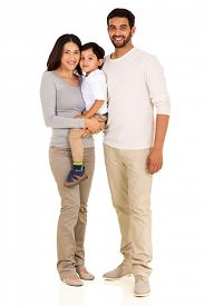 foto of indian  - full length portrait of happy young indian family isolated on white - JPG