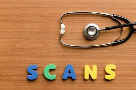stock photo of virus scan  - Scans colorful word on the wooden background - JPG