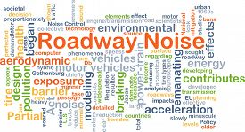 stock photo of noise pollution  - Background concept wordcloud illustration of roadway noise - JPG