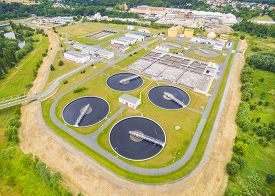 image of groundwater  - Aerial view of public sewage treatment plant for 165 - JPG