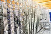 Row of servers rack in server room poster