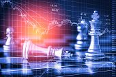 Business Game On Digital Stock Market Financial And Chess Background. Digital Business And Stock Mar poster