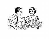 Couple Dining - Retro Clip Art