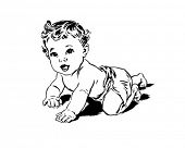 Crawling Baby - Retro Clip Art